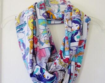 Cartoon Princess Comic Book Print Jersey Knit Infinity Scarf