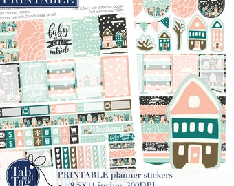 January weekly kit. Week layout for Happy planner. Stickers PRINTABLE kit in peach pink, blue. House, winter, weekend banner weekly kit.