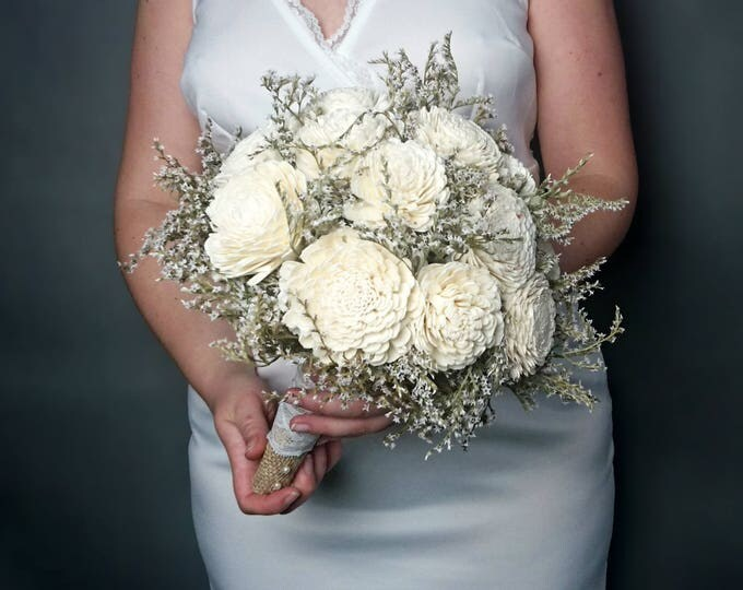 Large ivory rustic wedding BOUQUET Sola Flowers dried limonium Burlap lace pearls bridal vintage custom