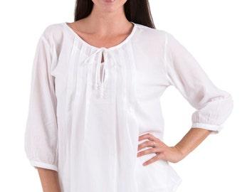 Boho Cotton Voile Peasant Blouse  - White XS - 2XL