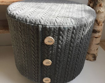 Footstool/SIDE Table of Grey cable knit