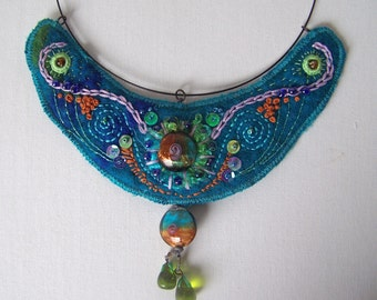 Sea ...... bohemian embroidered jewelery which has been felt by hand in beautiful colors of the sea