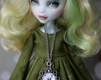 Necklace with deer for BJD MSD doll 1/4 size and for Blythe, Monster High and Azone dolls 1/6 size