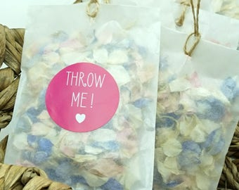 Set of 20 Petal Confetti in Glassine Envelopes with Throw Me! Sticker Wedding Confetti Biodegradable Dried Delphinium Petals Choice Colours