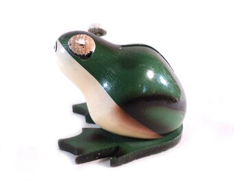 French Wood Piggy Bank, Green Frog Moneybank with Spring Eyes, Made in France, Lardy Educo Toy