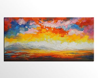 Abstract Art, Impasto Art, Heavy Texture Art, Oil Painting, Canvas Art, Sunset Sky Painting, Abstract Landscape Painting, Palette Knife Art