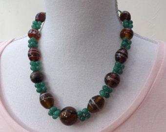 Brown necklace, aventurine necklace, Indian glass necklace, multi-cord necklace, green necklace,  autumn jewellery