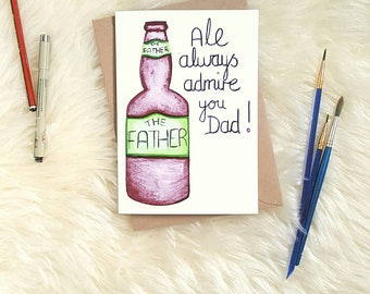Handmade Father's Day Beer Card/ Birthday Card, Cute Unique Ale/ Beer Bottle Design, A5 Greetings Card For Dad