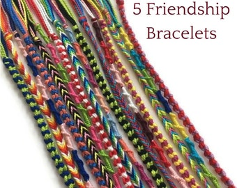 5 String Bracelets, Colourful Friendship Bracelets, Friendship Bracelet Set, Woven Bracelets, Thread Bracelets, Friendship String Bracelets