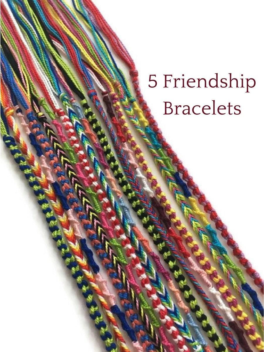 5 String Bracelets Colourful Friendship Bracelets Friendship