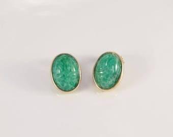 Scarab Earrings Prom Earrings Green Cabochon Clip On Earrings Vintage Egyptian Clips Carved Pekin Glass 1960s Oval Fantasy Fairy Elf Earring