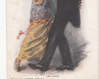 C1900 Elegant Couple Dancing The Tango-Beautiful Evening Wear Antique