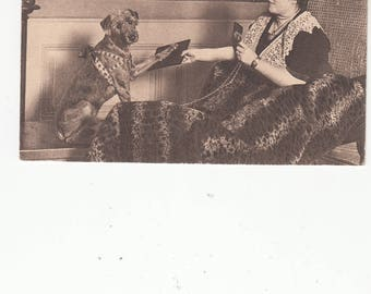 Very Intelligent Rolff Circus Dog With Owner, Antique Postcard