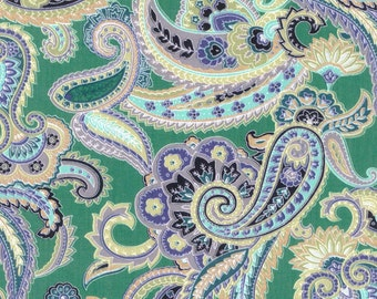 Buttercream - Metallic Gold Paisley Fabric BTY