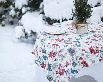 Simply finished linen tablecloth with Scandinavian ornaments