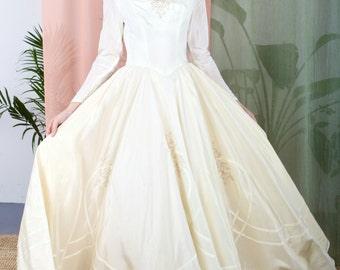 La Céleste - Gorgeous 1950s wedding dress with sequin and bead detail