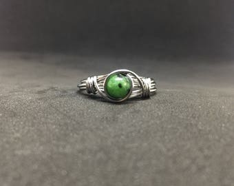 Zoisite Wire Wrapped Ring