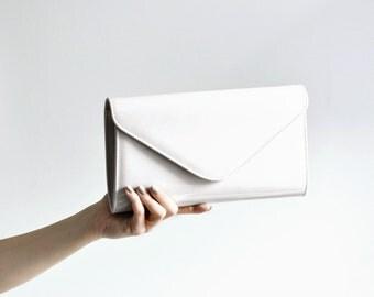 White womens clutch bag, small white clutch bag, classic white clutch