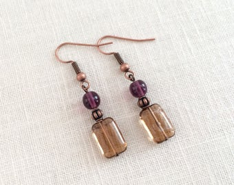 Czech glass earrings. Purple earrings, topaz earrings. Copper dangle earrings. Small drop earrings. Glass bead earrings, glass bead jewelry.