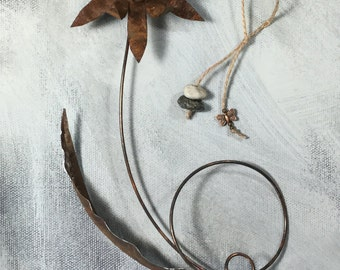 Rusted Metal Flower Ornament Sculpture, Drilled Stones,Butter Fly, Rustic Earthy Elegance, Recycled Materials and Lots of Joy. RUO-10113