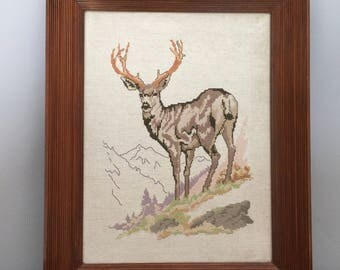 Framed Embroidery Needlepoint Deer Rustic Large