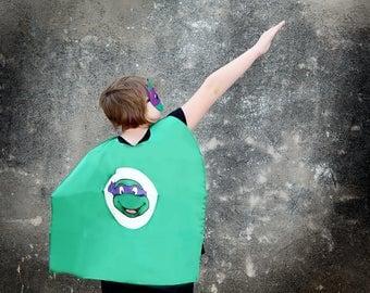 Ninja Turtle Purple Super Hero Cape & Mask -Purple and Green Hero Cape, Super Hero Mask, Ninja Turtle, Girl Cape, Ninja Mask, Teenage Turtle