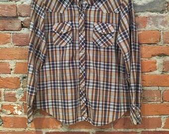 Vintage Ladies Womens Western Pearl Snap Shirt Small
