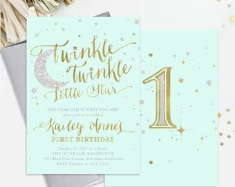 Twinkle Twinkle Little Star Birthday Invitation: 1st, 2nd Any Age! Boy Or Girl. Mint Green, Gold & Silver Shimmer - First Party Invite
