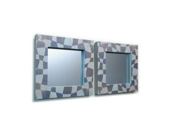 Two Small Mirrors, Two Mirrors, Mirror Set, Accent Mirrors, Decorative Mirrors, Framed Mirror, Mirror Frame, Pale Blue Mirror, Purple Mirror