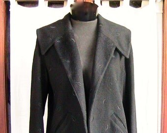 Small 50s SWING JACKET small black wool