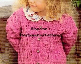 Girls Leaf-Edged Cardigan PDF Knitting Pattern 22-30'' Size 2-10 DK/ 8ply Girl Childrens Cardigan Pattern Instant Download PDF Pattern - 95