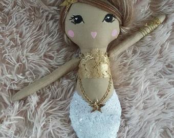 READY TO SHIP Original Mermaid Cloth Doll, 20.8 inch