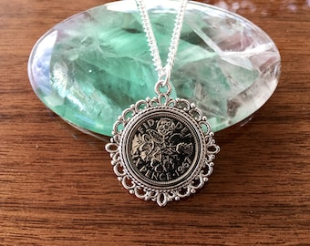 1967 sixpence necklace, birthday gift ideas for mom,  1967 present for her, 1967 birthday gift for women, jewelry gift for mum from daughter