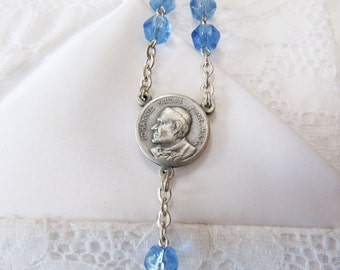 Vintage Silver Light Blue Glass Rosary Beads, Papal Visit 1986 with Original Pouch, Pope John Paul ll beads, Catholic Gifts