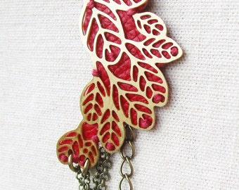 Leather and brass Leaf bracelet