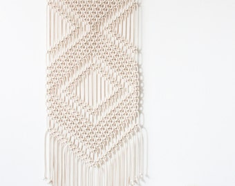 Macrame Wall Hanging > CHEVRONS > 100% Cotton Cord in Natural Ecru with Bamboo