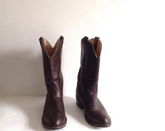 """Double H Work Western Cowboy Boots """"Tahoe"""" Brown Leather, Men's 10 D"""