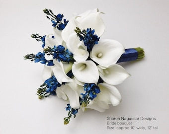 Navy blue, white/offwhite, bouquet, Real Touch flowers, calla lily/lilies, silk, lupines, Bride, Groom, set, wedding, package