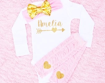 Personalized baby girl Outfit, Personalized Baby Girl Gift,  Custom newborn girl Outfit,  Monogrammed baby girl outfit, custom baby shirt