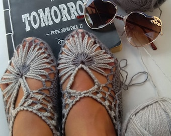 Pattern Only!  Crochet Flower Slippers