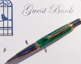 Green Acrylic Turned Sierra Gold Pen