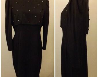 80s Black Cape Evening Dress  by R M Richards Size 14