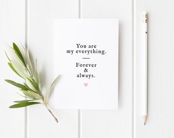 Simple Anniversary  Card, Anniversary Card, You Are My Everything Card, Anniversary Card Wife, Forever And Always Card, Card For Husband