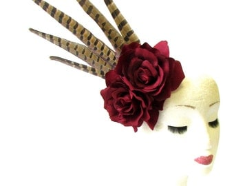 Burgundy Red Pheasant Feather Rose Flower Fascinator Headpiece Races Vtg 1897