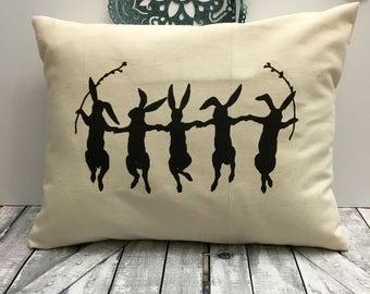 Easter Pillow, Dancing Rabbits,Rabbit Pillow,Spring Decor,Spring Pillow,Rabbit Pillow, Easter Decoration, Canvas Pillow, Easter Bunny Pillow