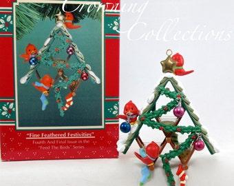Enesco Fine Feathered Festivities Bird Feeder Treasury of Christmas Ornament Feed the Birds Bird House Friends 4th Final Series M. Gilmore