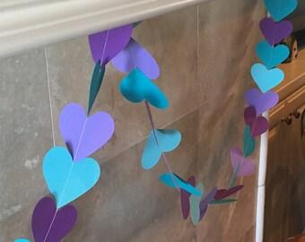 Paper Heart Garland - Wedding decor - Engagement Shower Garland - Party Swag - Valentine's Day Decor