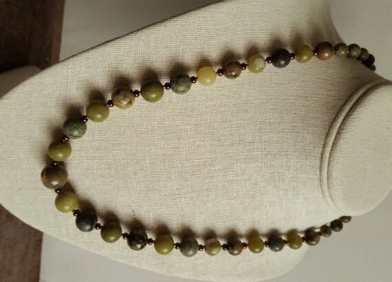 JADE, RHYOLITE, SERPENTINE Necklace. Round Size-Gradient Beads 6 to 14mm. Green, Brown Stone with Bronze, Copper Seed Beads and Clasp.