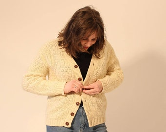 70s Cardigan Cream Sweater White Sweater White Cardigan Cream Cardigan Wooden Button Sweater Medium Sweater Vintage Sweater