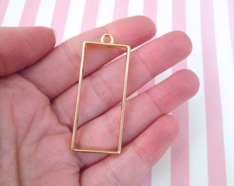 3 Gold Plated Rectangle Charms, Open Bezel Pendant, Rectangle Charms, Rectangle Pendants F243